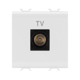 COAXIAL TV SOCKET-OUTLET, CLASS A SHIELDING - IEC MALE CONNECTOR 9,5mm - DIRECT  - 2 MODULE - WHITE - CHORUS