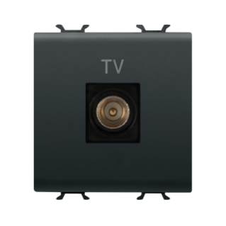 COAXIAL TV SOCKET-OUTLET, CLASS A SHIELDING - IEC MALE CONNECTOR 9,5mm - DIRECT  - 2 MODULE - BLACK - CHORUS