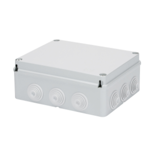 JUNCTION BOX WITH PLAIN SCREWED LID - IP55 - INTERNAL DIMENSIONS 240X190X90 - WALLS WITH CABLE GLANDS - GREY RAL 7035