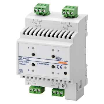 Easy 4-channel 16AX actuator - IP20 - DIN rail mounting