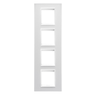 LUX INTERNATIONAL PLATE - IN TECHNOPOLYMER - 2+2+2+2 GANG VERTICAL - WHITE MONOCHROME - CHORUS
