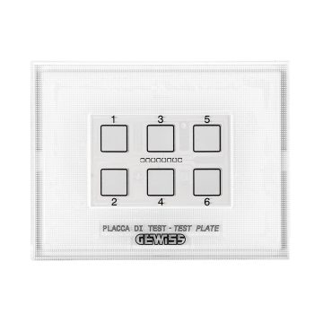 Test plate for KNX and Easy 6-channel touch push-button panel modules with interchangeable symbols