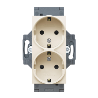 GERMAN STANDARD SOCKET-OUTLET 250V ac - SCREW TERMINALS - FRONT TIGHTENING TERMINALS - DOUBLE - 2P+E 16A - IVORY - DAHLIA