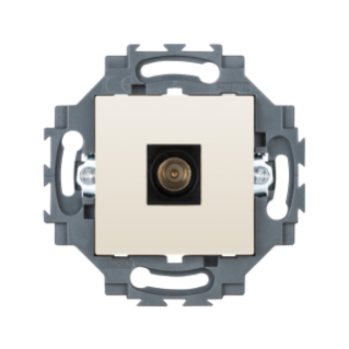 COAXIAL TV SOCKET-OUTLET, CLASS A SHIELDING - IEC MALE CONNECTOR 9,5 MM - DIRECT - 2 MODULE - IVORY - DAHLIA