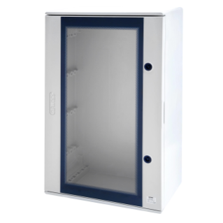 POLYESTER ENCLOSURE WITH TRANSPARENT DOOR FITTED WITH LOCK - 800X1060X350 - IP66 - GRIGIO RAL 7035