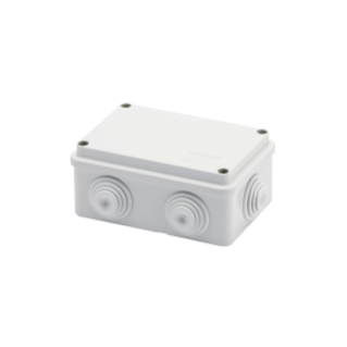 JUNCTION BOX WITH PLAIN SCREWED LID - IP55 - INTERNAL DIMENSIONS 120X80X50 - WALLS WITH CABLE GLANDS - GREY RAL 7035