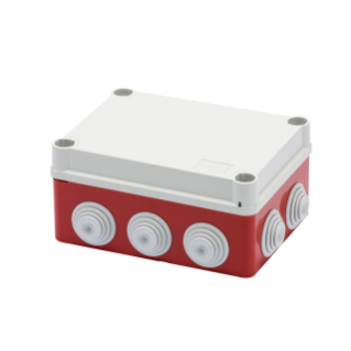 JUNCTION BOX WITH PLAIN QUICK FIXING LID A 1/4 TURN - IP55 - INTERNAL DIMENSIONS 150X110X70 - WALLS WITH CABLE GLANDS - GWT960ºC - GREY - BOX RED