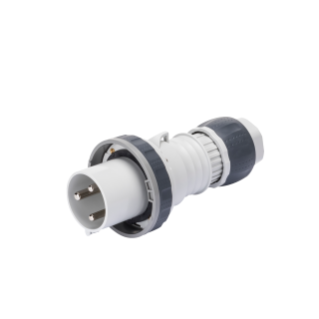 STRAIGHT PLUG HP - IP66/IP67/IP68/IP69 - 2P+E 63A >250V d.c. - GREY - 8H - MANTLE TERMINAL