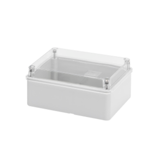 BOX FOR JUNCTIONS AND FOR ELECTRIC AND ELECTRONIC EQUIPMENT - WITH TRANSPARENT PLAIN  LID - IP56 - INTERNAL DIMENSIONS 150X110 X70 - WITH SMOOTH WALLS
