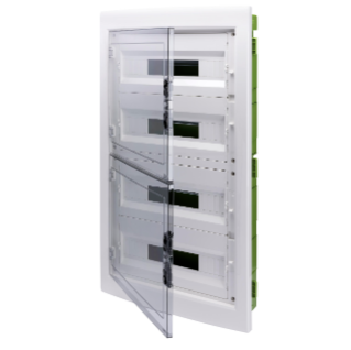 DISTRIBUTION BOARD - GREEN WALL - FOR MOBILE AND PLASTERBOARD WALLS - WITH SMOKED WINDOW PANEL AND EXTRACTABLE FRAME - 72 (18X4)  MODULES IP40