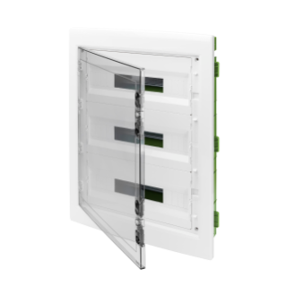 DISTRIBUTION BOARD - GREEN WALL - FOR MOBILE AND PLASTERBOARD WALLS - WITH SMOKED WINDOW PANEL AND EXTRACTABLE FRAME -  54 (18X3) MODULES IP40