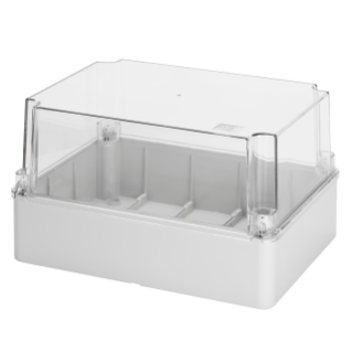 BOX FOR JUNCTIONS AND FOR ELECTRIC AND ELECTRONIC EQUIPMENT - WITH TRANSPARENT DEEP  LID - IP56 - INTERNAL DIMENSIONS 300X220X180 - WITH SMOOTH WALLS