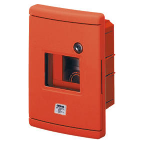 WATERTIGHT FLUSH-MOUNTING ENCLOSURE FOR EMERCENGY - 4 MODULES - GUIDA EN50022 - RED RAL 3000