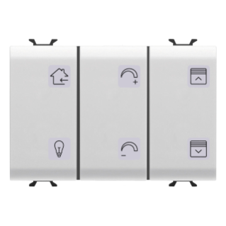 PUSH-BUTTON PANEL WITH INTERCHANGEABLE SYMBOL - WITH ROLLER SHUTTER ACTUATOR - EASY - 6+1 CHANNELS - 3 MODULES - WHITE - CHORUS