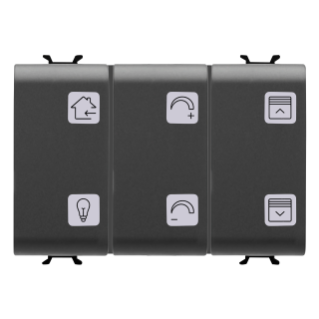 PUSH-BUTTON PANEL WITH INTERCHANGEABLE SYMBOL - WITH ACTUATOR - EASY - 6+1 CHANNELS - 3 MODULES - BLACK - CHORUS