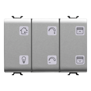 PUSH-BUTTON PANEL WITH INTERCHANGEABLE SYMBOL - WITH ACTUATOR - KNX - 6+1 CHANNELS - 3 MODULES - TITANIUM - CHORUS