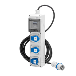 Q-DIN 5 ASD - MOBILE-PORTABLE - WIRED - WITH CABLE AND PLUG - 3 2P+E 16A IEC309 + 1 PRESA STANDARD TEDESCO 16A - IP44