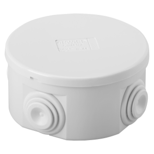 JUNCTION BOX WITH PLAIN PRESS-ON LID - IP44 - INTERNAL DIMENSIONS Ø 80X40 - WALLS WITH CABLE GLANDS - GREY RAL 7035