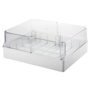 BOX FOR JUNCTIONS AND FOR ELECTRIC AND ELECTRONIC EQUIPMENT - WITH TRANSPARENT DEEP  LID - IP56 - INTERNAL DIMENSIONS 460X380X180 - WITH SMOOTH WALLS