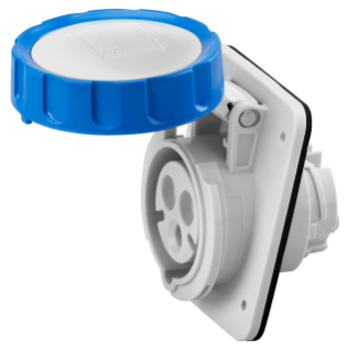 10° ANGLED FLUSH-MOUNTING SOCKET-OUTLET HP - IP66/IP67 - 2P+E 16A 200-250V 50/60HZ - BLUE - 6H - SCREW WIRING
