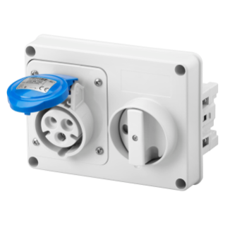 FIXED INTERLOCKED HORIZONTAL SOCKET-OUTLET - WITHOUT BOTTOM - WITHOUT FUSE-HOLDER BASE - 2P+E 16A 200-250V - 50/60HZ 6H - IP44