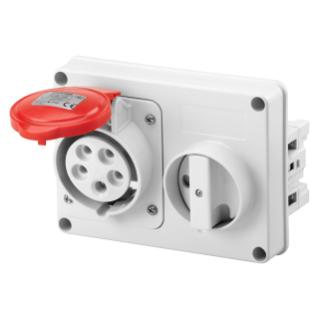 FIXED INTERLOCKED HORIZONTAL SOCKET-OUTLET - WITHOUT BOTTOM - WITHOUT FUSE-HOLDER BASE - 3P+N+E 32A 346-415V - 50/60HZ 6H - IP44