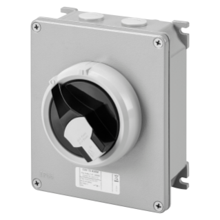 ROTATORY ISOLATOR - HP - SURFACE-MOUNTING - COMMAND - METAL BOX - 16A 2P - LOCKABLE BLACK KNOB - IP66
