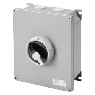 ROTATORY ISOLATOR - HP- SURFACE-MOUNTING - COMMAND - METAL BOX - 63A 3P - LOCKABLE BLACK KNOB - IP66