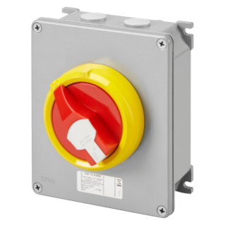 ROTATORY ISOLATOR - HP- SURFACE-MOUNTING - EMERGENCY - METAL BOX - 25A 3P+N - LOCKABLE RED KNOB - IP66