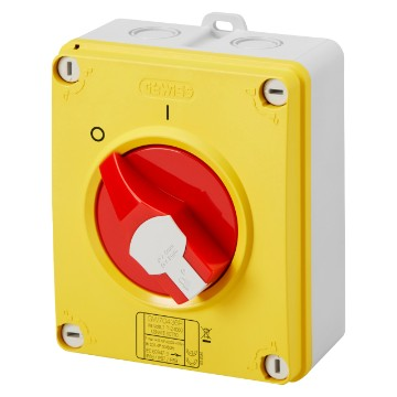 Surface-mounting isolator - emergency version with lockable red knob - IP66/IP67/IP69