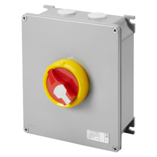 ROTATORY ISOLATOR - HP- SURFACE-MOUNTING - EMERGENCY - METAL BOX - 80A 3P - LOCKABLE RED KNOB - IP66