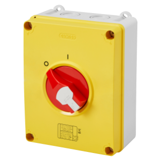 ISOLATOR - HP - EMERGENCY - ISOLATING MATERIAL BOX - 80A 3P+N - LOCKABLE RED KNOB - IP66/67/69