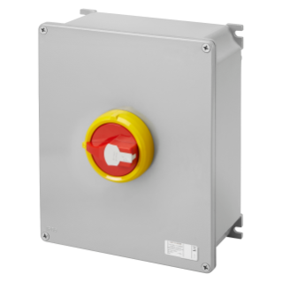 ROTATORY ISOLATOR - HP- SURFACE-MOUNTING - EMERGENCY - METAL BOX - 125A 4P - LOCKABLE RED KNOB - IP66