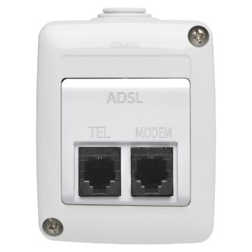 Base doble con filtro ADSL - IP40