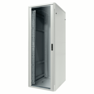 19'' FLOOR RACK CABINET - METAL - TRANSPARENT DOOR - 2 POSTS - 24U - 600X1185X600 - RAL 7035 GREY