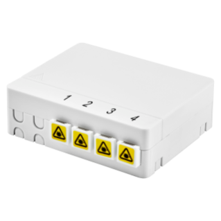 APARTMENT TERMINATION COMPACT BOX - COMPLETE OF 4 SC/APC ADAPTERS - WHITE