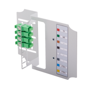 APARTMENT TERMINATION BOX - METAL VERSION - SUITABLE FOR 8 SC/APC ADAPTERS - WHITE