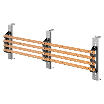 Pair of busbar-holders with crosspieces for vertical flat busbars for QDX 630H distribution boards